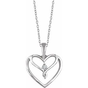 "Sterling Silver .05 CT Diamond Heart 18"" Necklace"