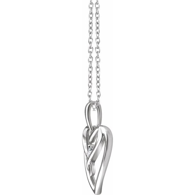 Sterling Silver .05 CT Diamond Heart 18