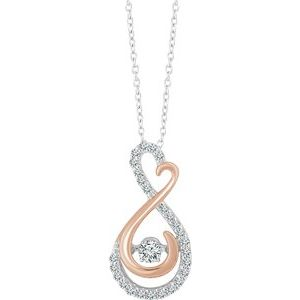 "14K White & Rose 1/6 CTW Mystara Diamonds® 18"" Necklace"