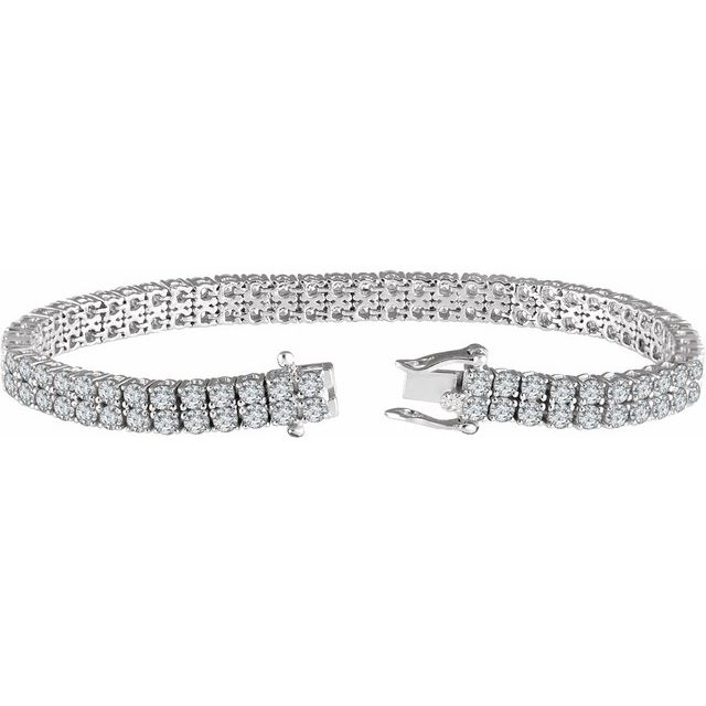 Sterling Silver 2.5 mm Round Cubic Zirconia Double Row Line 7