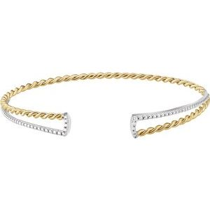 14K Yellow & White Twisted Rope Cuff Bracelet