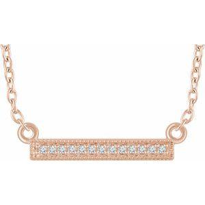 "14K Rose .05 CTW Diamond Bar 16-18"" Necklace"