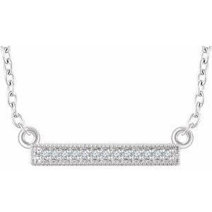 "14K White .05 CTW Diamond Bar 16-18"" Necklace"