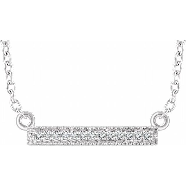 14K White .05 CTW Diamond Bar 16-18