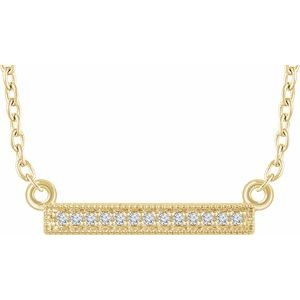 "14K Yellow .05 CTW Diamond Bar 16-18"" Necklace"