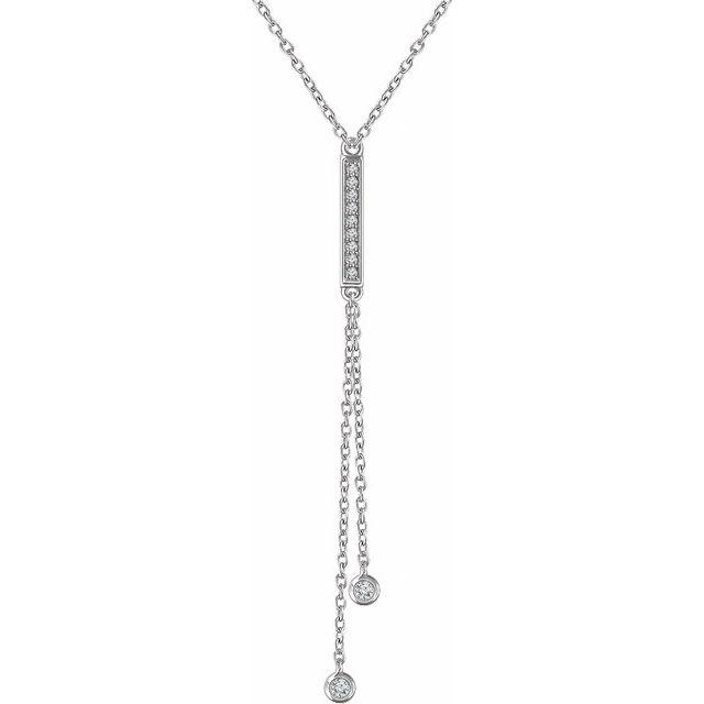 14K White 1/10 CTW Diamond Bar Y 16-18