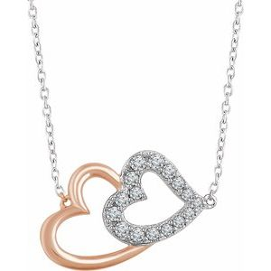 "14K White & Rose 1/5 CTW Diamond Double Heart 16-18"" Necklace"