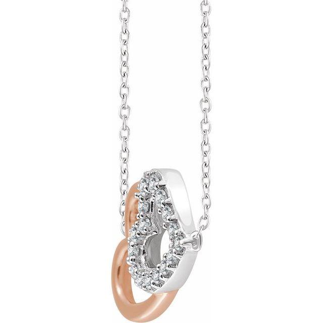 14K White & Rose 1/5 CTW Diamond Double Heart 16-18