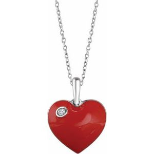 "Sterling Silver .02 CT Diamond Red Enamel Heart 18"" Necklace"