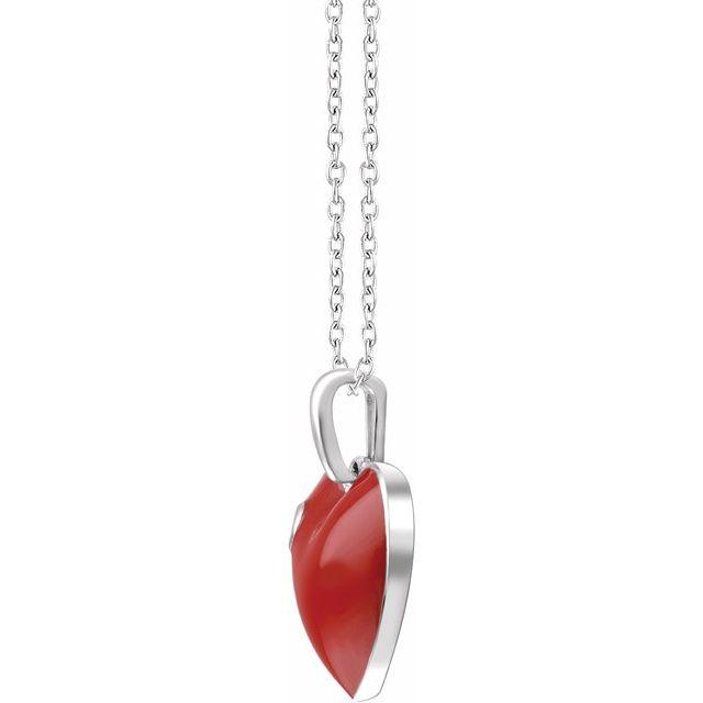 Sterling Silver .02 CT Diamond Red Enamel Heart 18