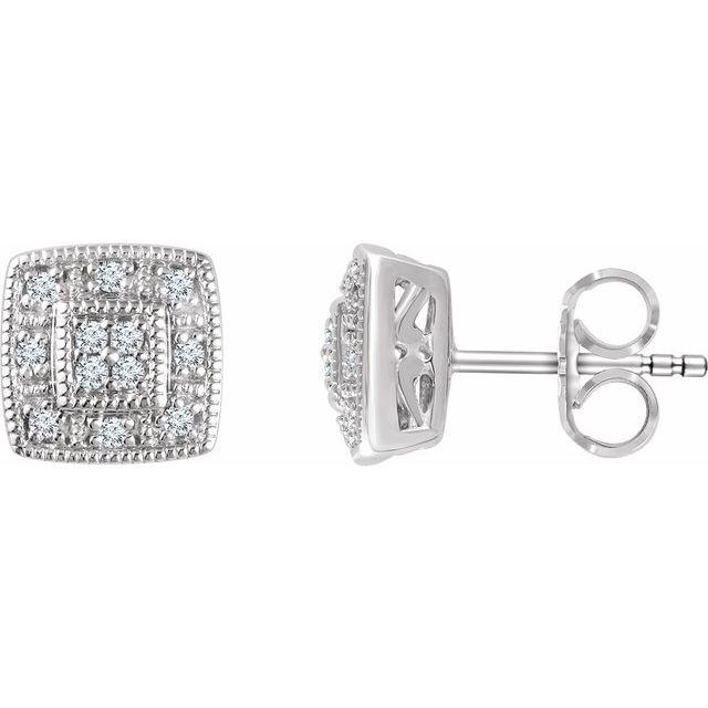 14K White 1/10 CTW Diamond Cluster Earrings