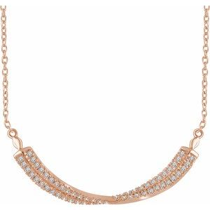 "14K Rose 1/4 CTW Diamond Twisted Bar 16-18"" Necklace"