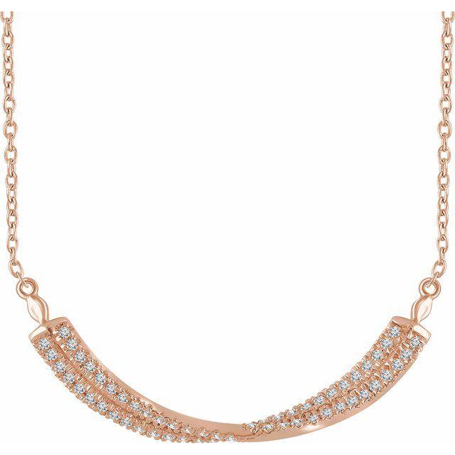 14K Rose 1/4 CTW Diamond Twisted Bar 16-18