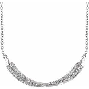 "14K White 1/4 CTW Diamond Twisted Bar 16-18"" Necklace"