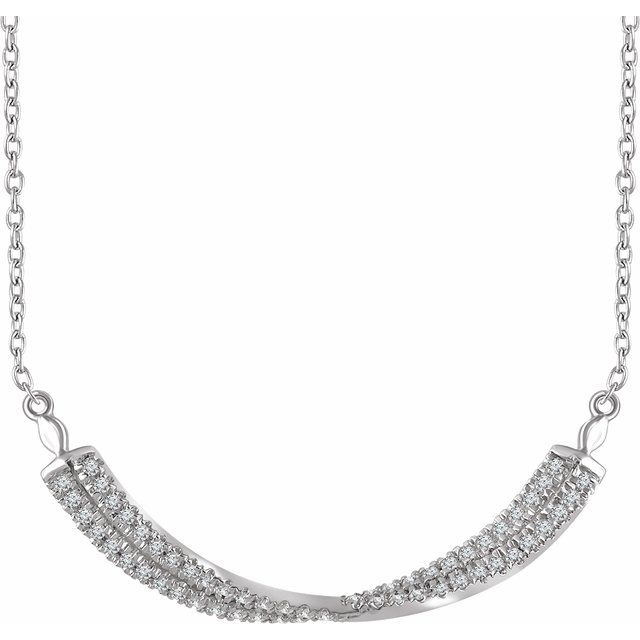14K White 1/4 CTW Diamond Twisted Bar 16-18