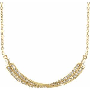 "14K Yellow 1/4 CTW Diamond Twisted Bar 16-18"" Necklace"