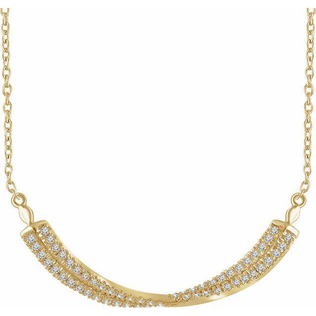 14K Yellow 1/4 CTW Diamond Twisted Bar 16-18
