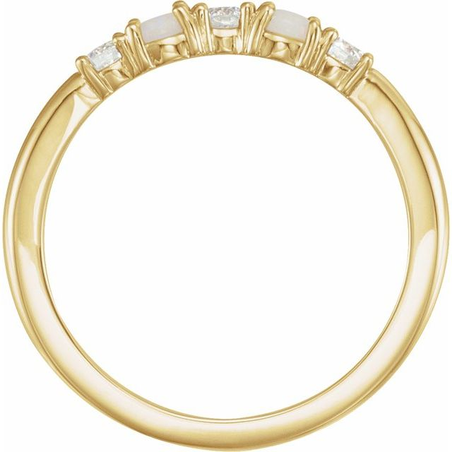 14K Yellow Opal & 1/5 CTW Diamond Stackable Ring