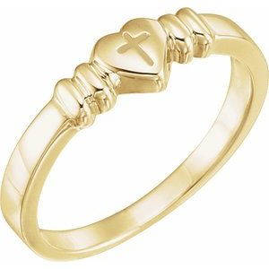 14K Yellow Heart & Cross Chastity Ring Size 7