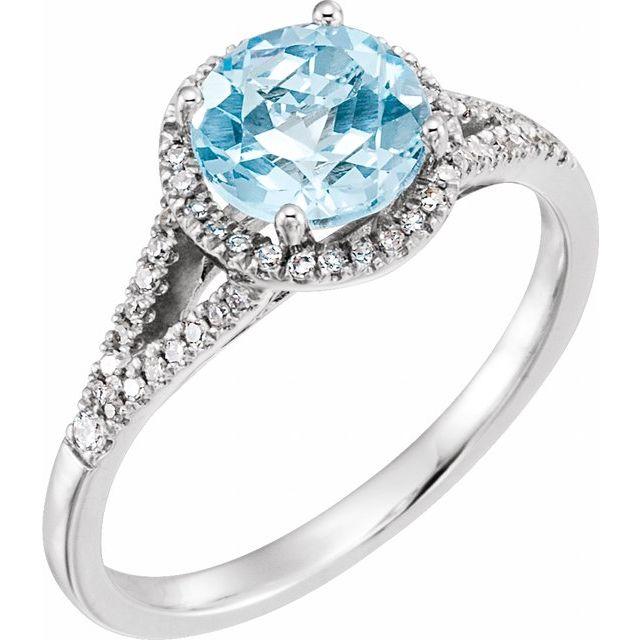 14K White Sky Blue Topaz & 1/5 CTW Diamond Ring
