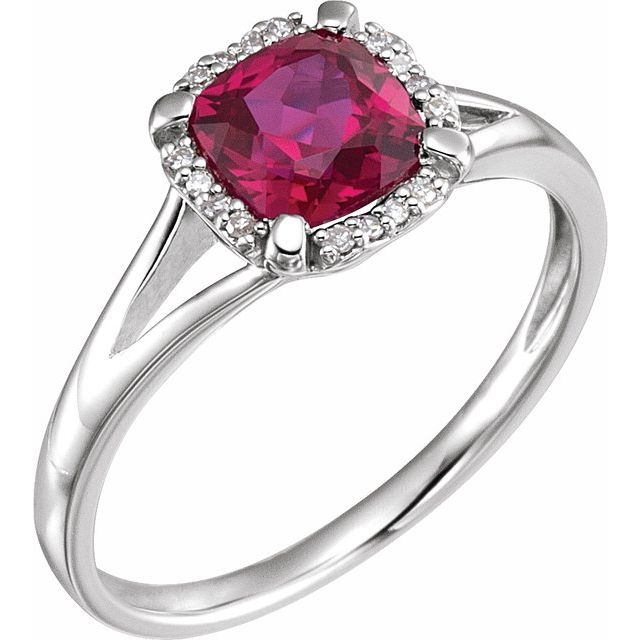 14K White Created Ruby & .05 CTW Diamond Ring