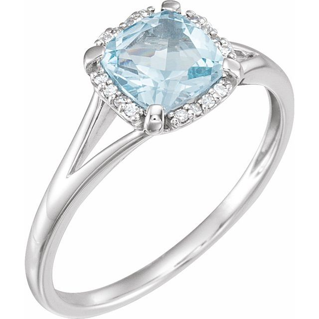 14K White Sky Blue Topaz & .05 CTW Diamond Ring