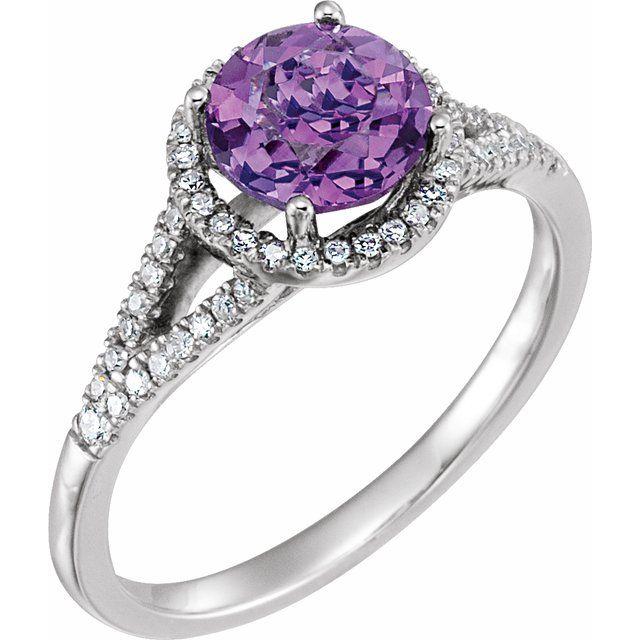 14K White Natural Amethyst & 1/5 CTW Natural Diamond Ring