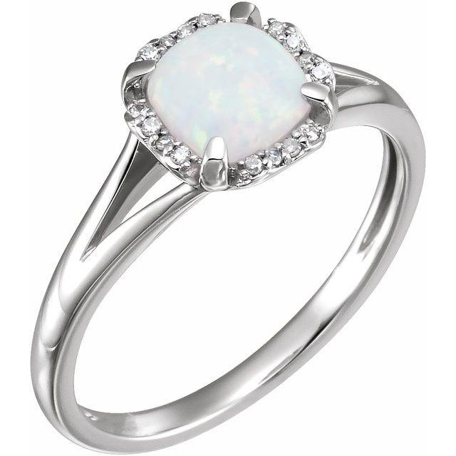 14K White Created Opal & .05 CTW Diamond Ring