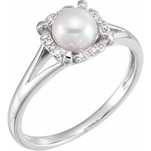 14K White Freshwater Cultured Pearl & .05 CTW Diamond Ring