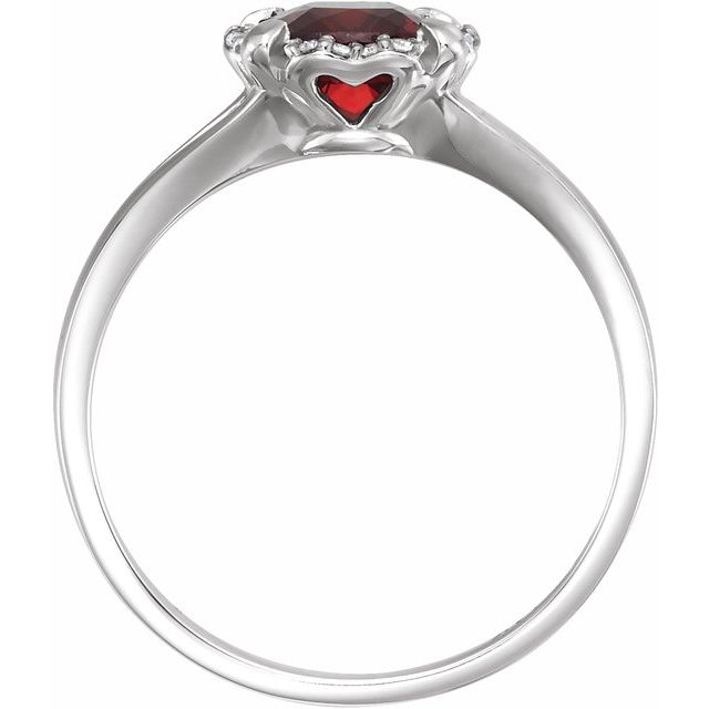 14K White Mozambique Garnet & .05 CTW Diamond Ring