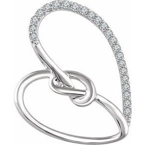 Sterling Silver 1/8 CTW Diamond Heart Knot Pendant