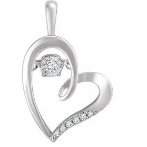14K White .05 CTW Mystara Diamonds® Heart Pendant