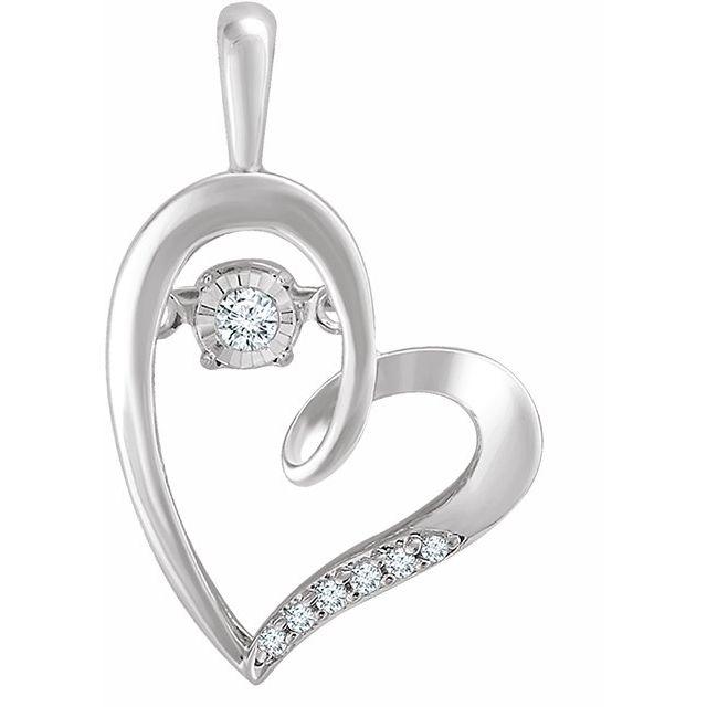 Sterling Silver .05 CTW Mystara Diamonds® Heart Pendant