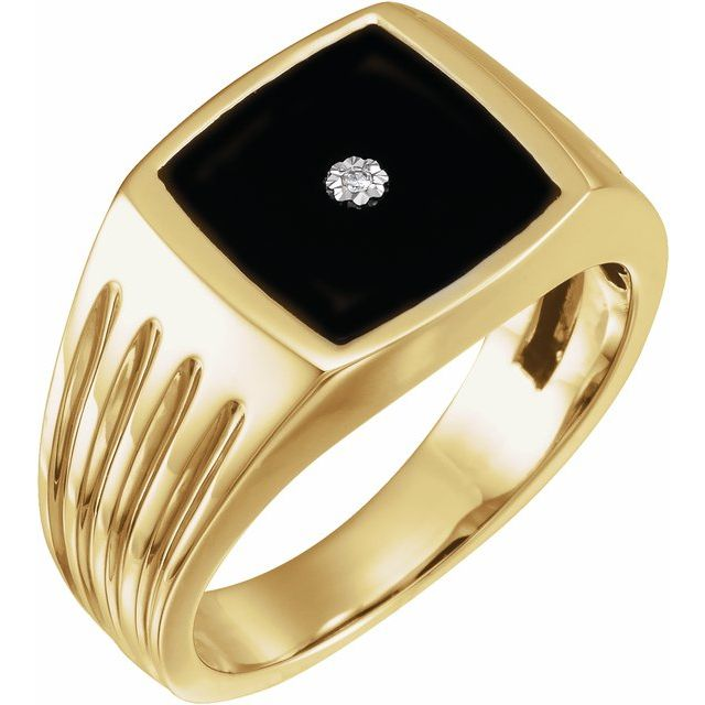 14K Yellow Onyx & .005 CTW Diamond Grooved Ring