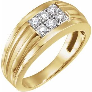 14K Yellow/White 1/2 CTW Diamond Illusion Ring