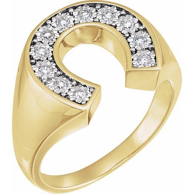 14K Yellow & White 1/4 CTW Diamond Men-s Horseshoe Ring