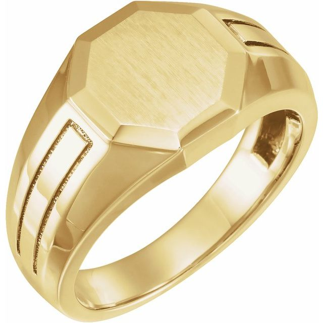 14K Yellow 12.7x12.5 mm Octagon Signet Ring