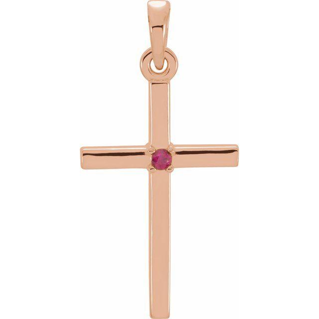 14K Rose 19.2x9 mm Ruby Cross Pendant