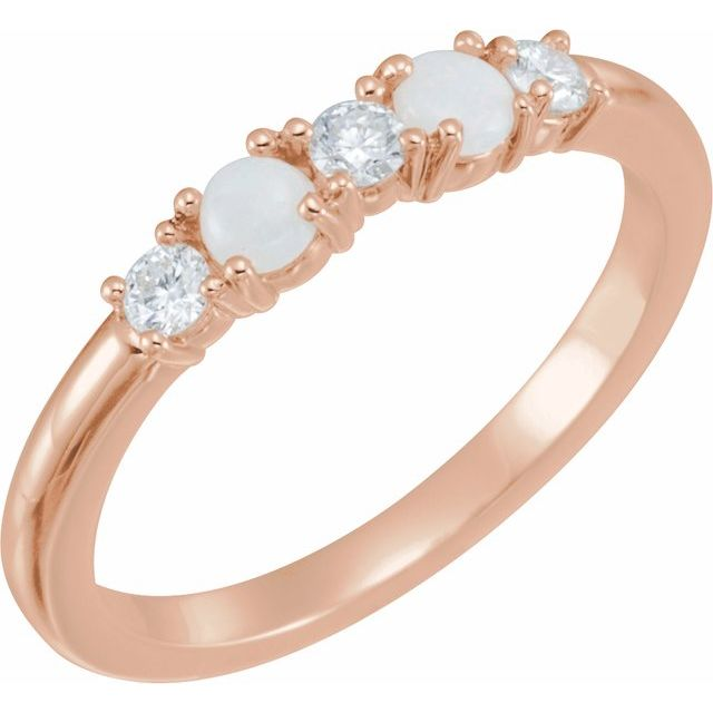 14K Rose Opal & 1/5 CTW Diamond Stackable Ring