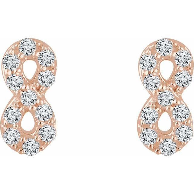 14K Rose 1/6 CTW Diamond Infinity Earrings