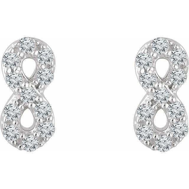 14K White 1/6 CTW Diamond Infinity Earrings