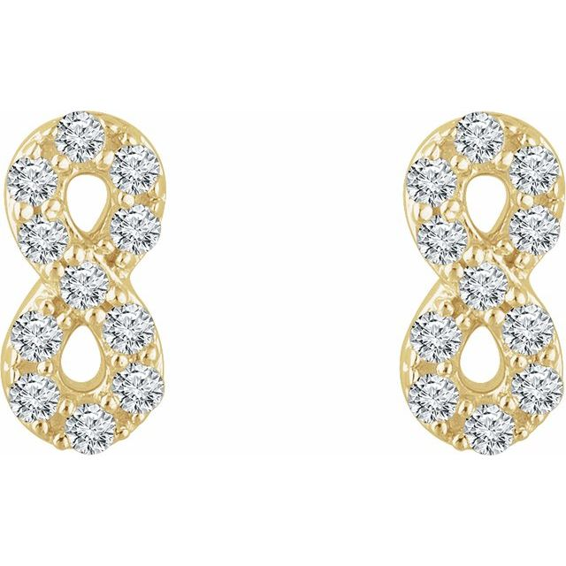 14K Yellow 1/6 CTW Diamond Infinity Earrings