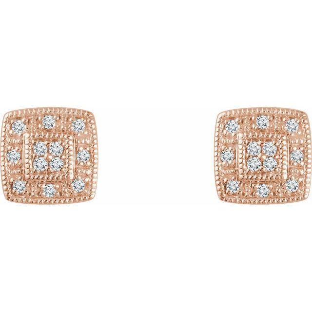 14K Rose 1/10 CTW Diamond Cluster Earrings