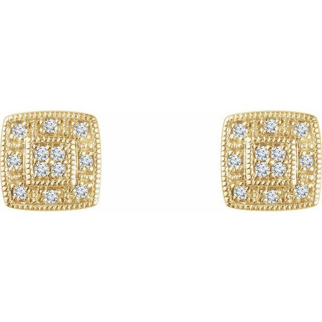 14K Yellow 1/10 CTW Diamond Cluster Earrings