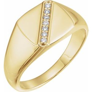 14K Yellow 1/10 CTW Diamond 12 mm Square Signet Ring