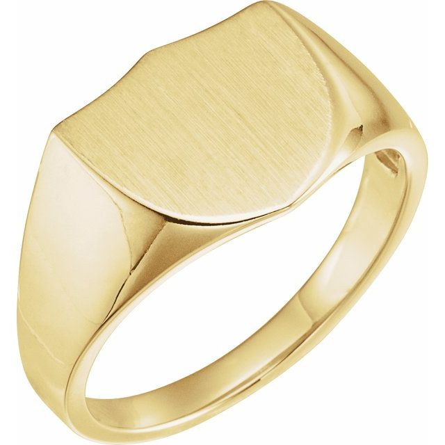 14K Yellow 14 mm Shield Signet Ring