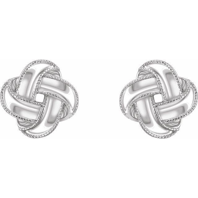 14K White Knot Earrings