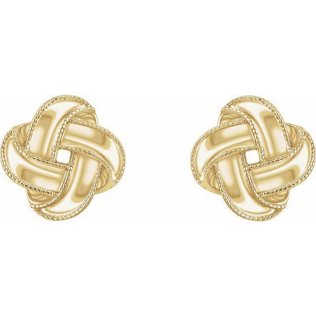 14K Yellow Knot Earrings