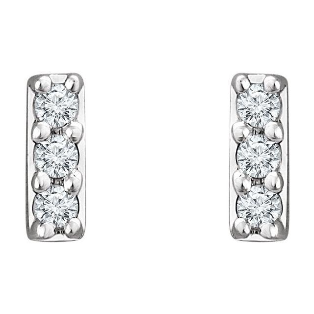 14K White .05 CTW Diamond Bar Earrings
