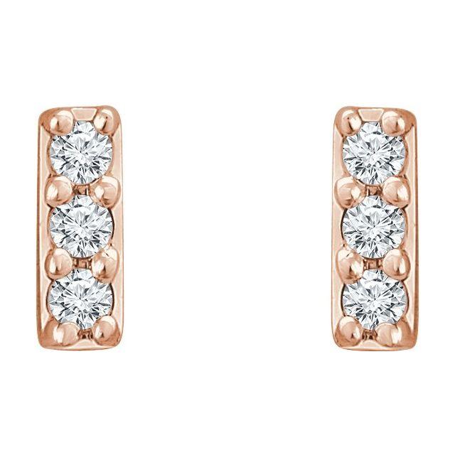 14K Rose .05 CTW Diamond Bar Earrings